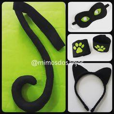 Kit Cat Noir do Miraculous: Tiara, máscara, braceletes e rabo, tudo em feltro. Fazemos outros modelos, consulte (11) 951184528. #tiaracatnoir #catnoir #tiara #miraculous #braceletes #mascara #rabocatnoir #feltro #mimosdosanjos