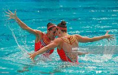 Laura Auge and Margaux Chretien of France compete in the Synchronised Swimming…
