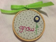Embroidery, buttons and polka dot fabric