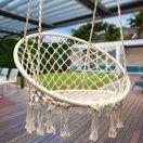 Hammock Chair Macrame Swing for Indoor Outdoor Home Patio Deck Yard Garden White for sale online