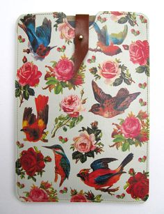 Leather Kindle Case - Birds & Roses. $70.00, via Etsy.