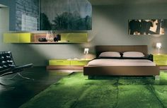 Decoration Ideas, Cool Bedroom Interior Design With Green Grass Carpet: Several Ways to Decorate Your Room with Cool Carpet Design Ideas Green Bedroom Design, Green Bedroom Decor, Bedroom Paint Colors, Green Bedrooms, Bedroom Ideas, Decorate Your Room, Awesome Bedrooms, Beautiful Bedrooms, Bedroom Carpet