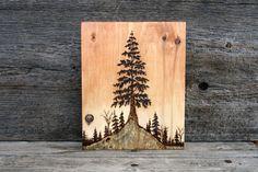 Tree At Sunset - Wood burning Art - Tree Landscape