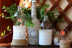 Come decorare bottiglie di vetro  How to decorate glass bottles www.lisoladeglidei.it