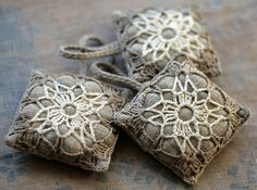 Lavender sachets by namolio by jennie Crochet Sachet, Crochet Pincushion, Crochet Motif, Crochet Flowers, Knit Crochet, Crochet Pillow, Crochet Home, Crochet Crafts, Crochet Projects