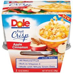 Dole Apple Cinnamon Fruit Crisp, 4 oz, 2ct