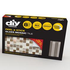DIY Tile Backsplash Kit 8Ft Bamboo comes with peel & stick glass mosaic tiles, 2 bags of pre-mixed grout; trim pieces to finish the edges, and tools.