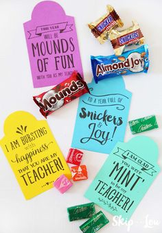 Teacher candy gram gift tags