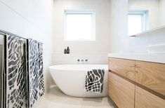 Terrigal Bathroom Bliss White bench top with timber vanity drawers