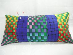 Pin Cushion Pin Keep Vibrant Blue Red Green Geometric  Sewing Notions Crushed English Walnut Shell Filling by TheCopperFinch on Etsy