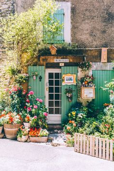 The most colorful shop front garden.