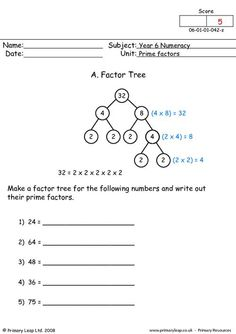 PrimaryLeap.co.uk - Prime factors Worksheet
