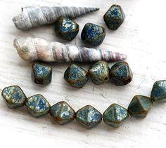 28 7mm Czech Glass Topaz Picasso Saturn Saucer Beads
