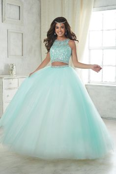 Fiesta Quinceanera 56317 This two piece style has a lace applique bodice and beaded waistband. Sparkle tulle ball gown skirt has a matching beaded waist. Cute Prom Dresses, 15 Dresses, Pretty Dresses, Beautiful Dresses, Fashion Dresses, Formal Dresses, Sweet 16 Dresses Blue, Fall Dresses, Prom Dresses For Girls