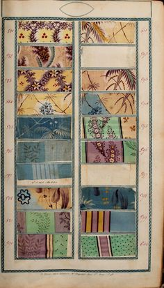Book of fabric samples 1825 (click through to view all the pages in the book) Motifs Textiles, Textile Patterns, Print Patterns, Fabric Rug, Fabric Painting, Antique Quilts, Vintage Textiles, Lyon, Fabric Design