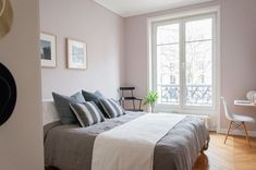 Before & After: See Which Colour Katy Painted Her Bedroom — Farrow & Ball Peignoir Farrow Ball, Farrow And Ball Paint, Home Bedroom, Master Bedroom, Bedroom Decor, Bedroom Apartment, Calm Bedroom, Bedroom Ideas, Budget Bedroom