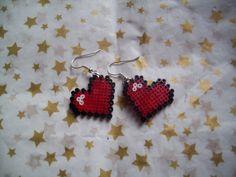 Mini Hama Bead 8 Bit Pixel Heart Earrings Geek di robbiesgirlshop, $5.40