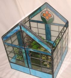 "Lead Light Stained Glass Terrarium ""Ice Blue"" Plant House Hermit Crabs."