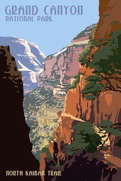 North Kaibab Trail - Grand Canyon National Park - Lantern Press Poster #TravelDestinationsUsaArt