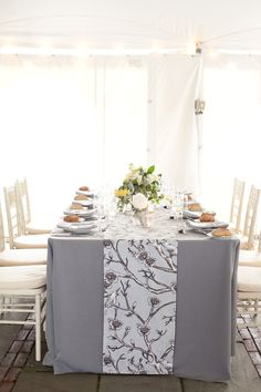 Gray & white table runners (fabric from Dwell) ~ set the tone for this beautiful wedding on Style Me Pretty: http://stylemepretty.com/2012/04/06/hudson-valley-wedding-by-robin-roemer-photography/ Photography by robinroemer.com, Floral Design by stevenbrucedesign.com