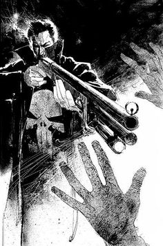 The Punisher by Bill Seinkiewicz. Even though it appears that the Punisher is wearing those stupid white gloves, this is one of the most badass Punisher pieces I've ever seen.