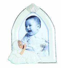 """Precious Moments Baptism Boy Photo Frame. Hold's a 3.5"""" x 5"""" photo. Perfect gift for baptism. Sure to be treasured."""