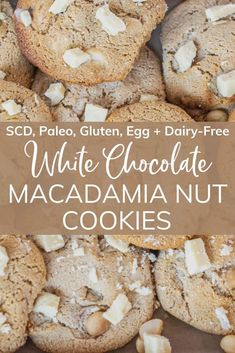 These cookies are chewy, delicious, and oh-so crave-worthy! Oh, they also just happen to be free of grains, gluten, dairy, and eggs, and totally pass the credentials to be considered both SCD and paleo!  #glutenfree #dairyfree #cleancuisine #healthydessert #quickdessert #glutenfreedesser#dairyfreedessert #healthyfrostingrecipe #frostingrecipe #whitechocolatemacadamianutcookies Dairy Free White Chocolate, White Chocolate Macadamia, White Chocolate Chips, Healthy Frosting Recipes, Healthy Desserts, Coconut Cream, Coconut Flour, Clean Eating Sweets, Macadamia Nut Cookies