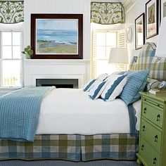Blue, white, and green beach house bedroom