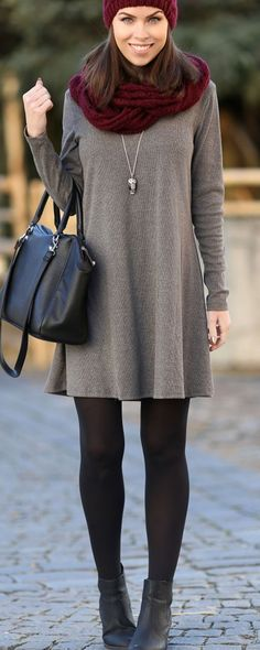 Sweater dress with tights and booties. sweater dress with tights and booties ankle boots outfit winter How To Wear Ankle Boots, How To Wear Leggings, Ankle Boots With Dresses, Dress And Tights Outfit, Gray Dress Outfit, Red Scarf Outfit, Outfits With Tights, Ankle Boots Outfit Winter, Leggings Outfit Fall