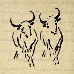 Printable Digital Oxen Image Illustration Download Ox Graphic Vintage Clip Art Jpg Png Eps 18x18 HQ 300dpi No.1609 @ vintageretroantique.etsy.com