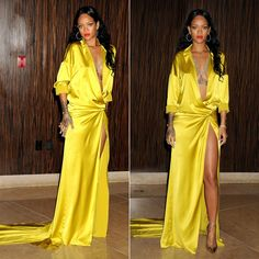 Rihanna attended Clive Davis' pre-Grammy party  in a yellow gown from Alexandre Vauthier's Spring/Summer 2014 couture collection. The satin dress, which is the couture version of a shirt dress, features a deep neckline and thigh high slit. Christian Louboutin's laser-cut Impera sandals, from the Spring/Summer 2014 collection