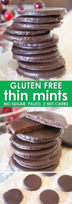 Homemade Thin Mints are the perfect for anyone trying to eat a little better, and especially for those who need gluten free Thin Mints! This Thin Mint Recipe uses almond flour and results in the perfect, crispy, and sweet Thin Mint Cookie! And with only 1 Gluten Free Sweets, Gluten Free Cookies, Gluten Free Baking, Gluten Free Recipes, Low Carb Recipes, Paleo Cookies, Almond Cookies, Healthy Recipes, Pumpkin Cookies