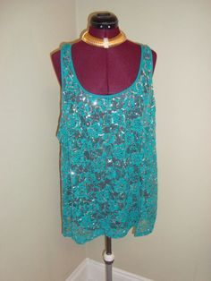 Sexy Feathers Sz 3X Women's Teal Semi Sheer Lace & Silver Sequins Tank  Top #Feathers #Sexy