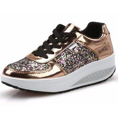 95102e25e1984 Aliexpress.com : Buy Minika Cool Gold Sequined Spring/Autumn Shoes Women  Casual Shoes Lady's Fashion Walking Swing Wedges Shoes Woman Ankle Boots  from ...