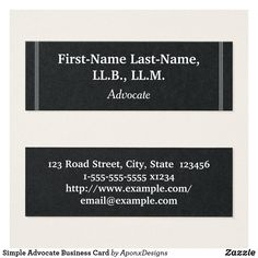 Shop Simple Advocate Business Card created by AponxDesigns. Office Logo, Cleaning Business Cards, Paralegal, Card Designs, First Names, Lawyer, Business Card Design, Letter Board, Cards Against Humanity
