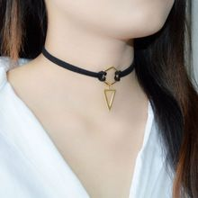 2016 New Trend Hot Fashion Black Leather Choker Necklace Wrap Gold Plated Geometry With Triangle Pendant For Women Girls(China (Mainland))