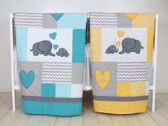 Twin Baby Quilts  Elephant Crib Bedding  by Customquiltsbyeva                                                                                                                                                                                 More