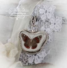 Broken China Jewelry Butterfly Sterling Necklace Pendant