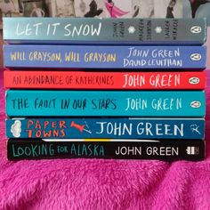 John Green books, Looking for Alaska, the fault in our stars,  an abundance of Katherines, will grayson, will grayson and let it snow.