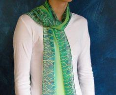 Green Neurons Silk Chiffon Scarf by artologica on Etsy, $55.00