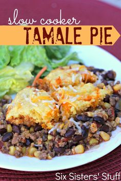Slow Cooker Tamale Pie :: six Sister's Stuff. Sounds delish, but I'll have to swap out the cornbread mixture for Krusteaz's gluten free stuff. Easy enough! Crock Pot Slow Cooker, Crock Pot Cooking, Slow Cooker Recipes, Mexican Food Recipes, Crockpot Recipes, Crockpot Meals, Freezer Meals, Crock Pot Tamale Pie Recipe, Crock Pots