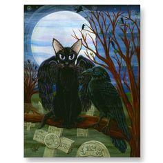 Raven's Moon Black Cat Crow Gothic Art Postcard by TigerpixieArt