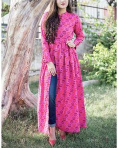 The Secret Label Pink Cotton Printed Front Slit Anarkali Kurti