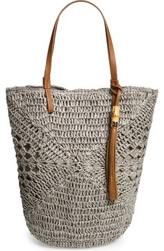 Straw Studio Tassel Crochet Bucket Tote available at Crochet Handbags, Crochet Purses, Crochet Bags, Hand Crochet, Chesire Cat, Crochet Shell Stitch, Purse Patterns, Knitted Bags, Crochet Accessories