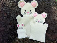 Mouse Pet Set Animal Felt Puppet Adult Kid door ThatsSewPersonal