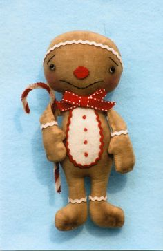 Primitive Christmas Snowman Santa Gingerbread Elf Bear Doll Ornies Pattern | eBay