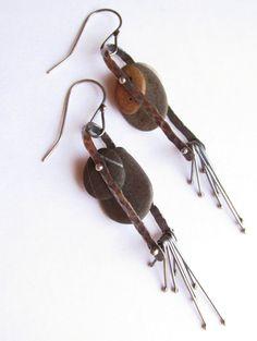 Earrings Dangle Fringe Kinetic Rivet Sterling by rmddesigns