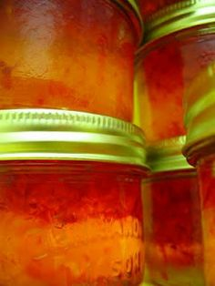 Home made red-pepper jelly----oh, pepper jelly is my fave! I'm going to try this!