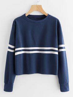 Shop Contrast Striped Sweatshirt online. SheIn offers Contrast Striped Sweatshirt & more to fit your fashionable needs.