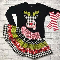 Modern Reindeer Girls Christmas Outfit Shirt and Skirt Dress Set Girls Christmas Jumpers, Toddler Girl Christmas Outfits, Baby Girl Christmas, Little Girl Outfits, Christmas Sweaters, Cute Outfits, Christmas Holiday, Tween Fashion, Baby Girl Fashion